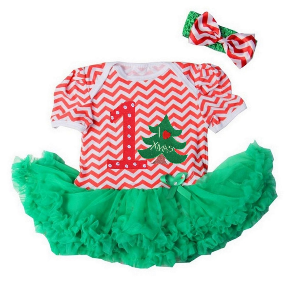 Baby Girl Clothes Xmas Number 1 Christmas Tree Red Green Chevron Bodysuit Tutu and Headband NB-18M