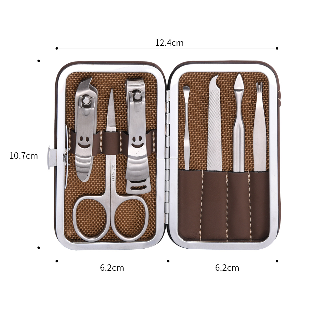 Classic Professional Brown 7pcs Manicure Pedicure Set Nail Care