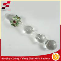 Clear Pyrex Glass Penis Sex Toy with Colorful Glans FF-G9373