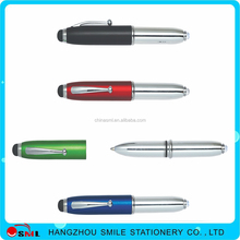 HH-103 School supply metal LED light pen with clip , promotional metal ball pen with led light