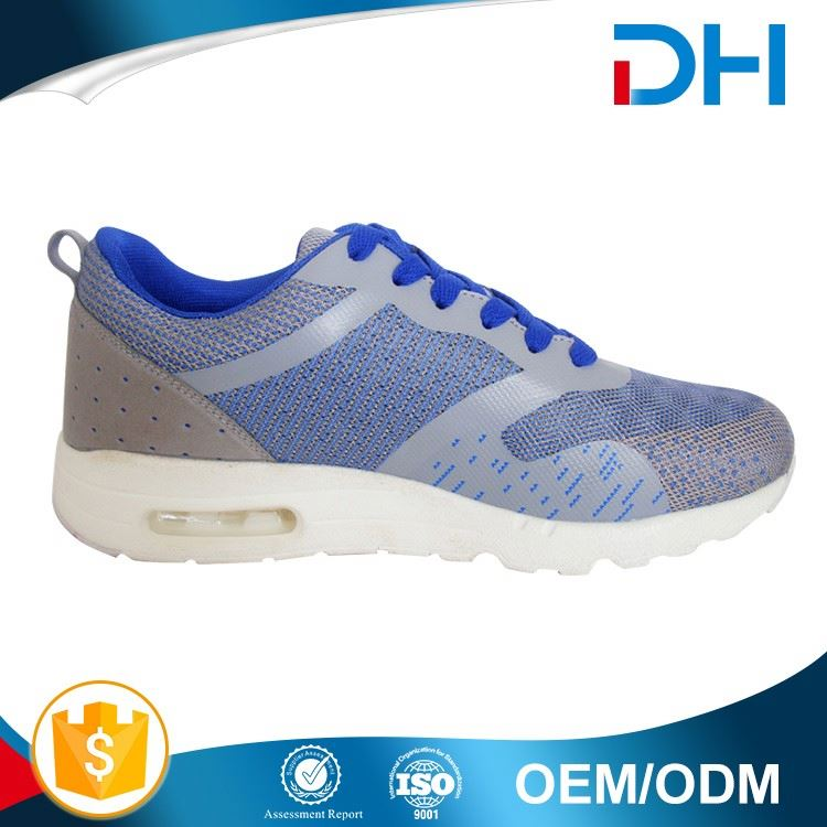 Blue and grey upper lowest price white outsole air cushion table tennis shoes men