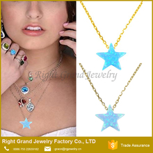 China Opal Chain Necklace Jewelry Five Pointed Opal Gemstone Star Pendant