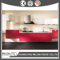 red high gloss pvc kitchen furniture exported to Cambodia