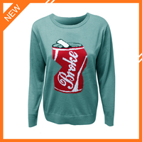 Jacquard crewneck long sleeve cotton pullover as knitting sweater for ladies DMJ-SW109
