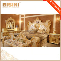 French Rococo Style Royal King Size Bed/ Fantastic Palace Porcelain Decorative Wood Carved Bed/ Luxury Classic Bedroom Furniture