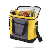 promotional oxford orange and grey combination cooler lunch insulated bag