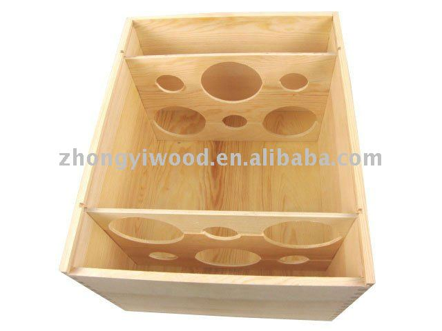 natural classical design wood wine carrying case for 6bottle