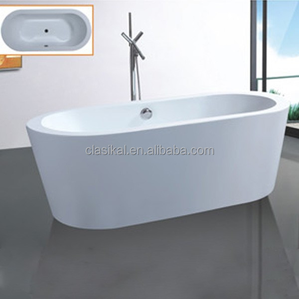 Clasikal cheap freestanding bathtub acrylic material oval for Best freestanding tub material