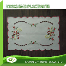 christmas custom embroidery cheap polyester hand made table placemat for wholesale, round or rectangle