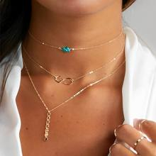 Stunning Dainty turquoise beads eternity symbol Choker <strong>Necklace</strong> Sequins Lariat Multilayers <strong>Necklace</strong> wholesale