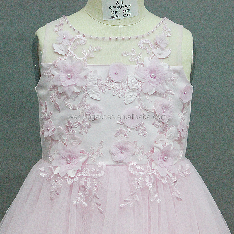 D30464P New arrival dress for kid girls long sleeved lace embroidery flower party dress flower girl dresses