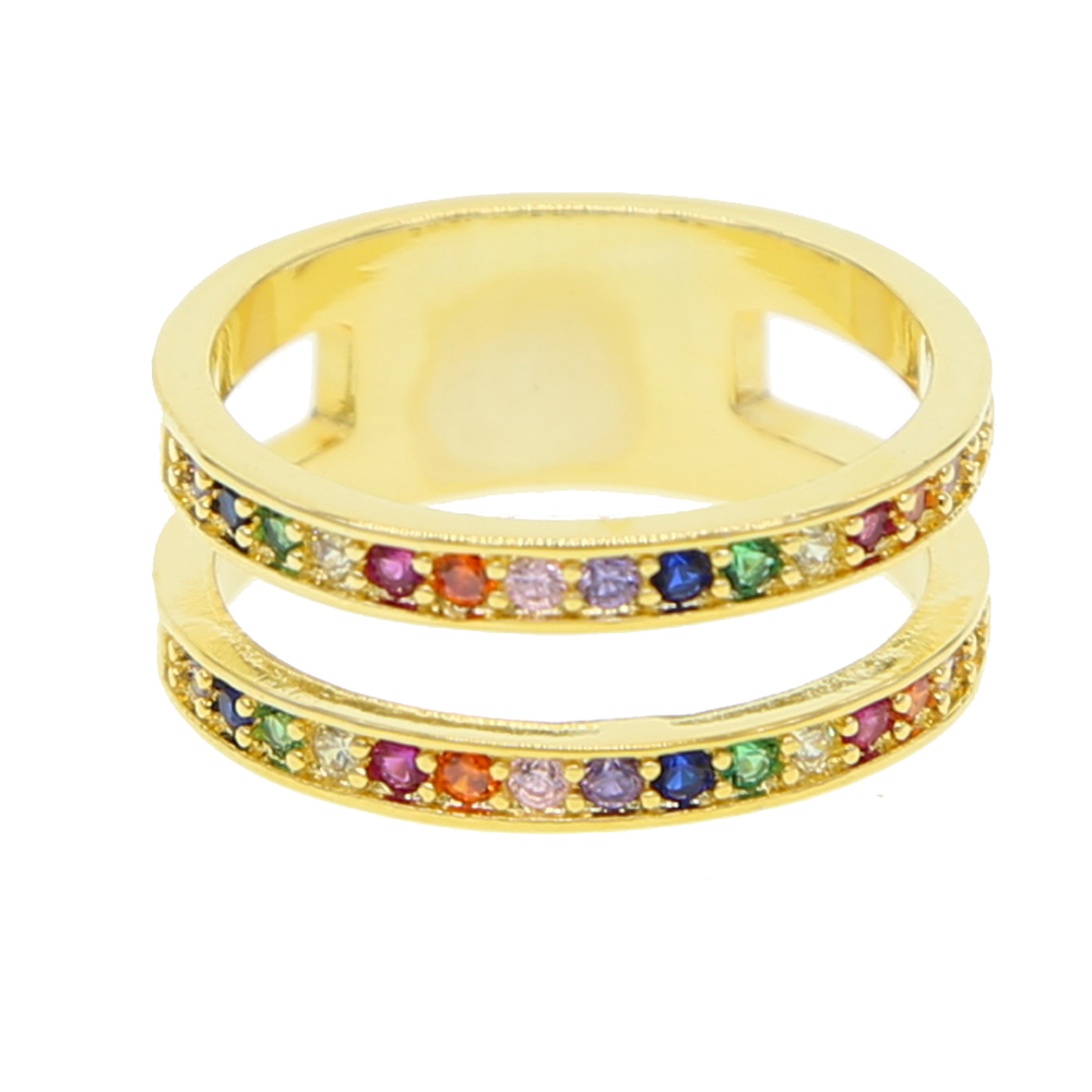 2018 latest new design Gold plated <strong>H</strong> shaped double line multi color cz women finger ring