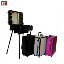 Professional Makeup Trolley Luggage Case lighted professinal makeup cases, make up case with light mirror, lighted makup box