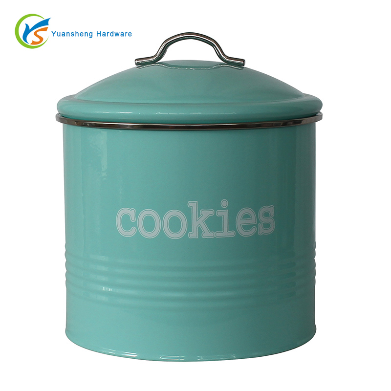 Light Green Galvanized Steel Biscuit Canister