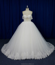 off shoulder pearls beaded see through corset ball gown tulle skirt wedding dress 2016