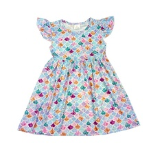latest style baby girl outfit kids clothing <strong>girl's</strong> Mermaid print lovely <strong>dress</strong>