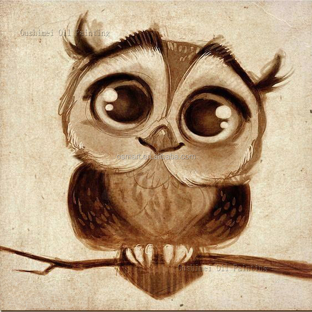 Custom Artworks 2016 New Design Hand Painted Modern Abstract Funny Animal Oil Painting On Canvas Big Eyes Cartoon Owl Paintings