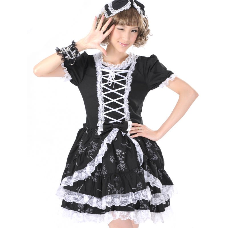 PUNK GOTHIC LOLITA ALICE FLORAL DRESS skirts womens81097