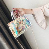2018 fashion women bags transparent pvc lovely lady handbag