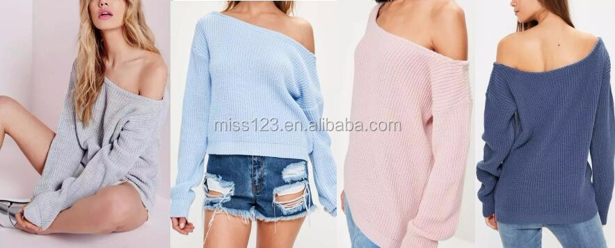 katrina kaif sexy photo off the shoulder knitted jumper sweaters for women