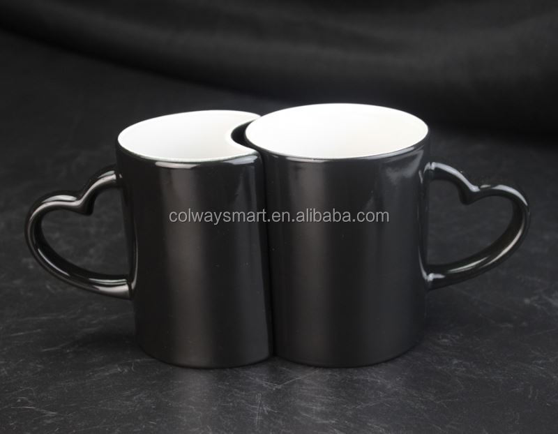 Custom Sublimation Blank Ceramic Valentine Couple Wedding Heart Shape Handle Magic Color Changing Heat Mug