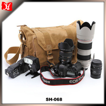 SH-068 Well-made Retro Casual Khaki Canvas Shoulder Messenger DSLR Camera Bag for Outdoor