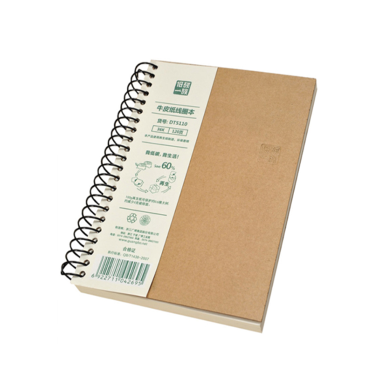 Promotional custom printed recycled kraft cover a5/a4 spiral notebook with elastic band