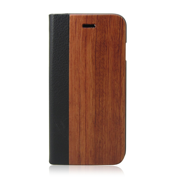 Natural wood flip leather holster PU leather phone case protective back cover for iPhone 6s