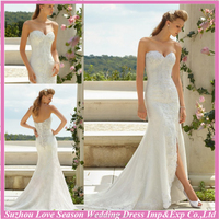 WD2878 Elegant white srapless sweetheart neck lace appliqued mermaid/trumpet scalloped hem sexy front slit wedding dresses