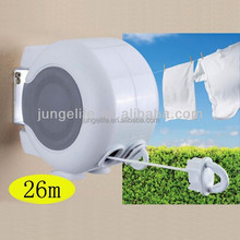 Two parallel plastic retractable washing line