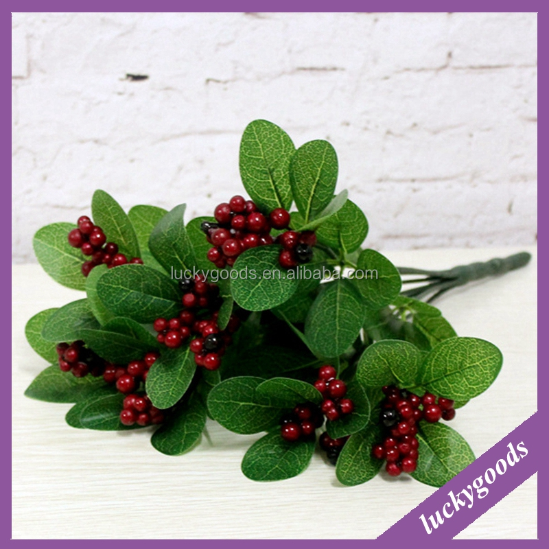LF484 7 branchese high quality decorative artificial christmas red fruit
