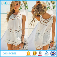 2016 Customize Women's White Sleeveless Crochet Fashion Top