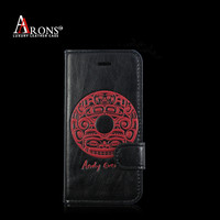 Leather mobile phone case for iphone 5 silk-screen wallet case