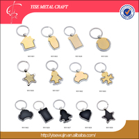 China factory supplier gold imitation custom shapes keychain metal key chain