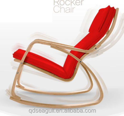 Wholesale modern wooden red black white cushion rocking <strong>chair</strong>