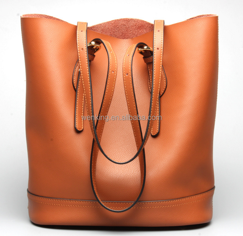 Genuine Leather Fashion Style Women Handbags Vintage Lady's Shoulder Bag Bucket American Brand Cow leather Ladies bags