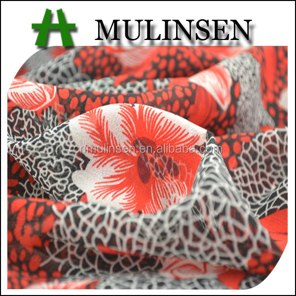Mulinsen Textile New Design Flower Animal Printed 150D Polyester Plain Georgette Saree Fabric