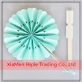 Mint paper hanging fan with bamboo handle for wedding party decoration