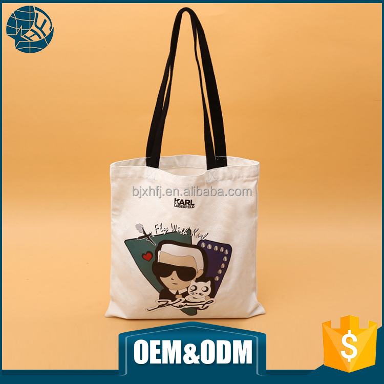Promotional plain white custom printed long strap standard size cotton canvas tote bag
