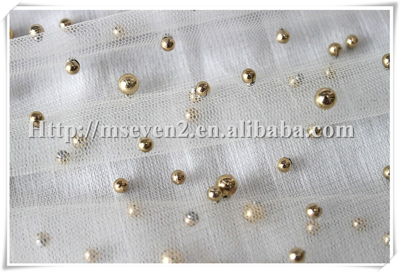 New arrival Transparent tulle soft beige net fabric with gold beads for Girl's dress