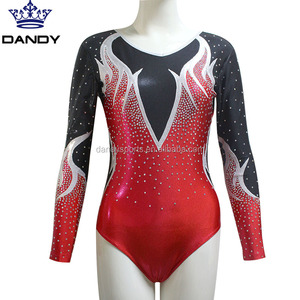 Customized size Rhinestone Competition Gymnastics Long sleeve leotard and Gym leotards for girls