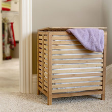 Household bamboo laundry basket with hinged lid bamboo open slats laundry hamper