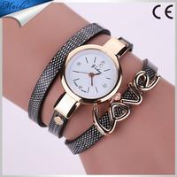 2016 China Cheaper Ladies Dress Love Style Fashion Leather Chain Bracelet Wrist Women Watch WW056