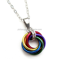 Gay Pride Pendant Necklace Chainmail Love
