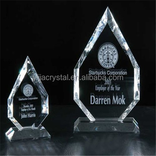 Blank Polished Optical Crystal Glass Iceberg Award for Business Gift/Glass Diamond Shape Plaque For Customer Personalized