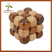 Made In Yiwu China Factory Suppliers Wholesale Mould Adult Ring Square Lock Custom Wooden Wood Puzzle 3d Puzzle Toy
