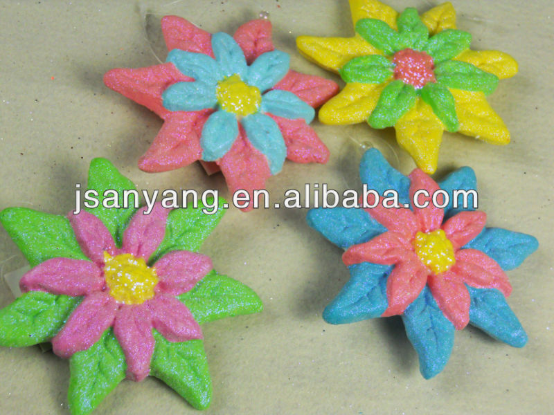 13cm foam flower w painting -4 assorted