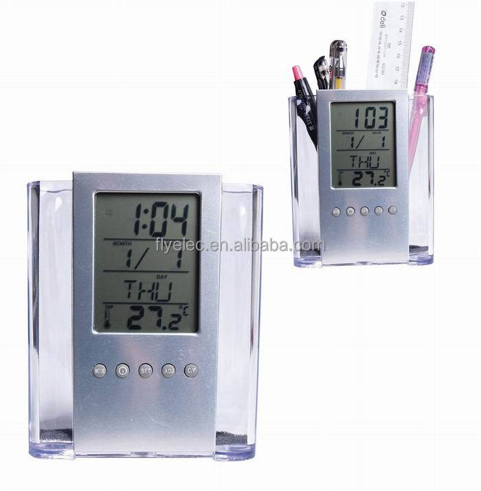 multifunctional LCD desk alarm clock with pen holder