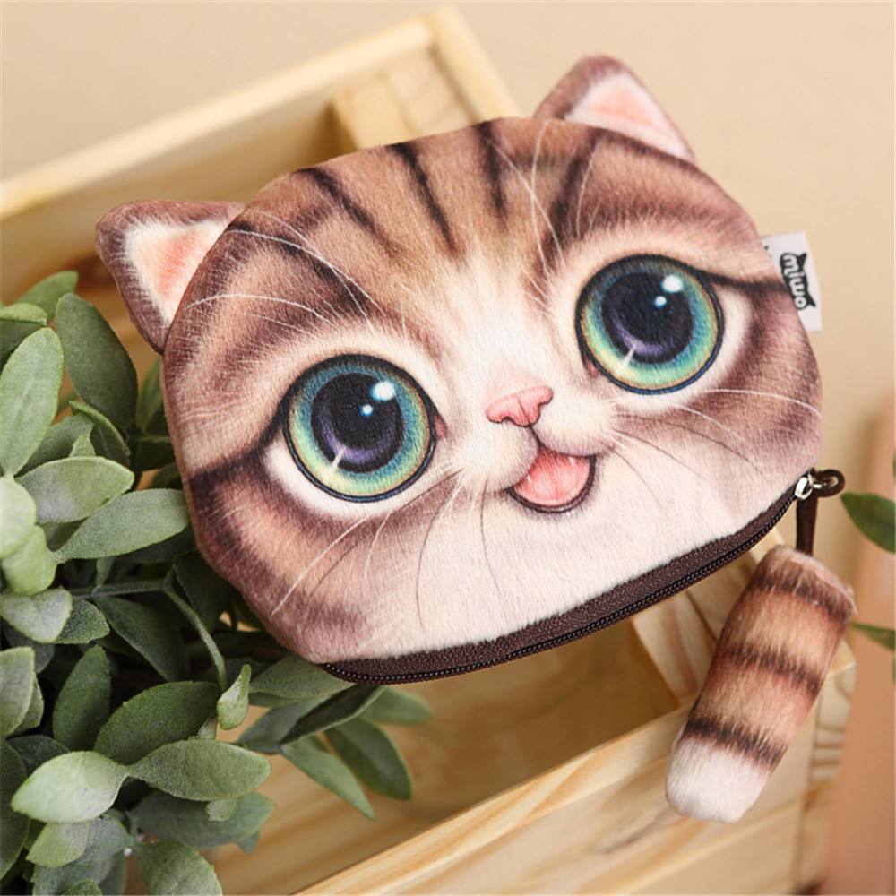 Wholesale 3D Cat Face Coin Purse Animal Shaped Wallet Printing Shoulder <strong>Bag</strong>