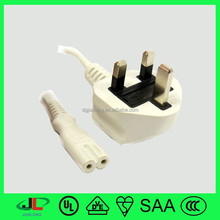 BS certificate British power cord UK 3 pin plug with 2 pin connector c7